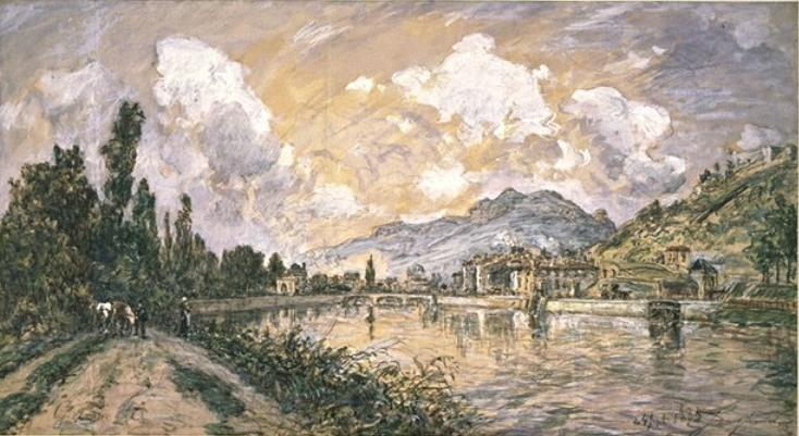 famous painting The green island in Grenoble of Johan Barthold Jongkind