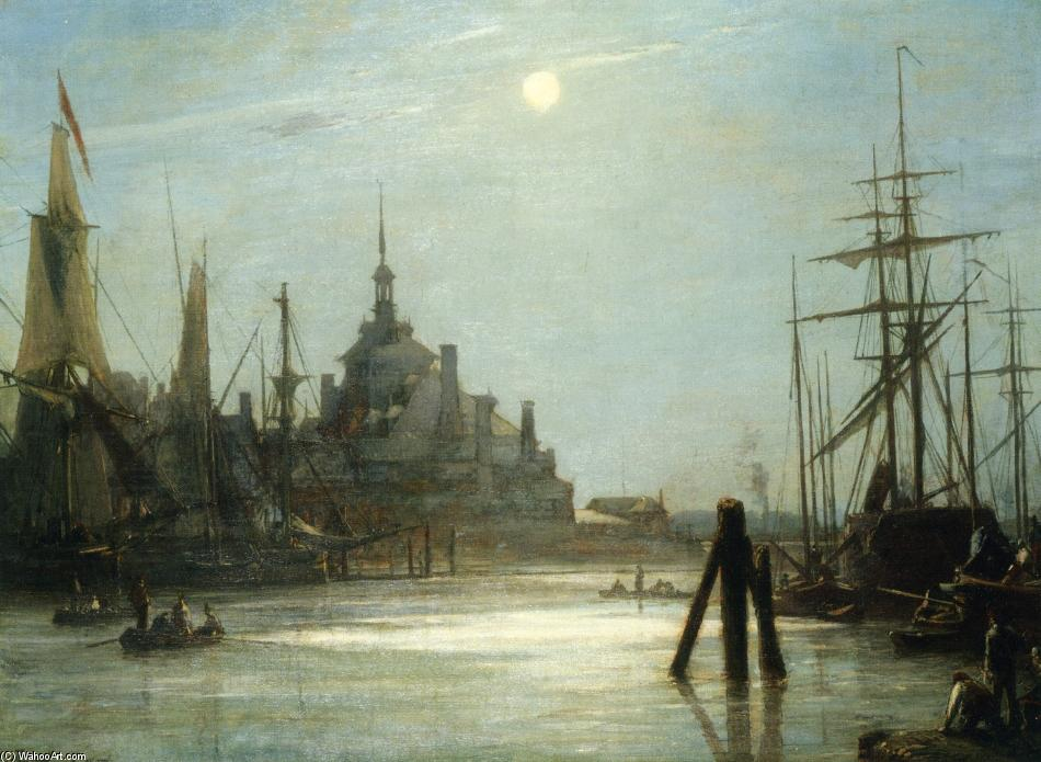 famous painting The Hoofdpoort in Rotterdam, The effect of the Moon of Johan Barthold Jongkind