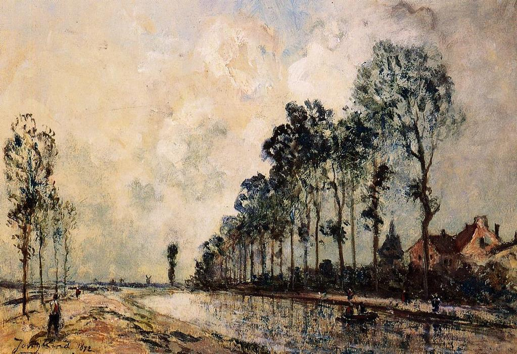 famous painting The Oorcq Canal, Aisne of Johan Barthold Jongkind