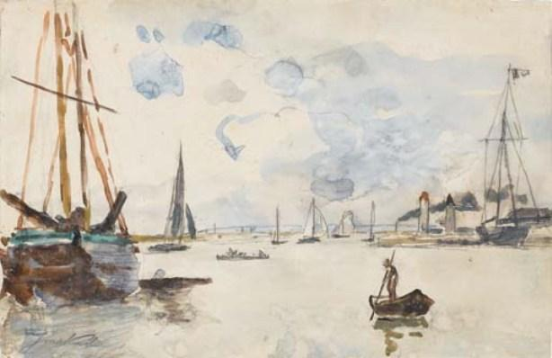 famous painting The output of the port of Honfleur of Johan Barthold Jongkind