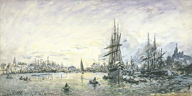 famous painting The port of Marseille 1 of Johan Barthold Jongkind