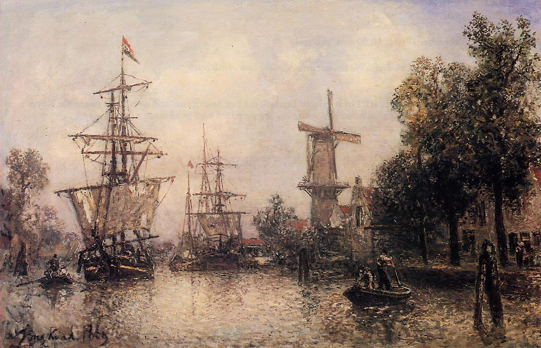 famous painting The Port of Rotterdam of Johan Barthold Jongkind