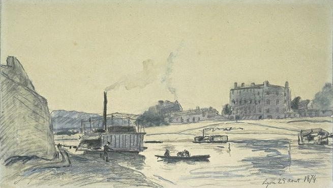 famous painting The Rhone at Lyon, with steam barges of Johan Barthold Jongkind