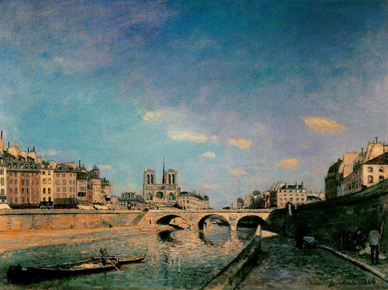 famous painting The Seine and Notre-Dame de Paris of Johan Barthold Jongkind