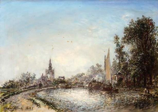 famous painting The village of Overschie 1 of Johan Barthold Jongkind
