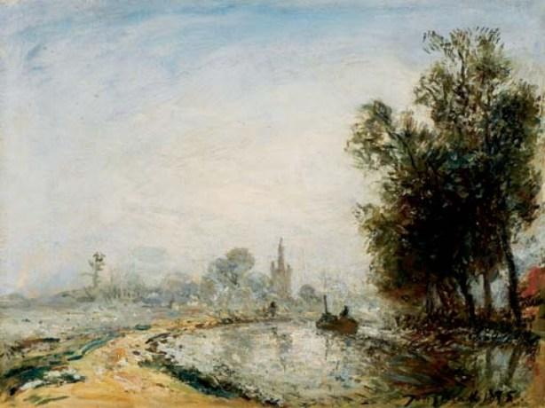 famous painting The village of Overschie of Johan Barthold Jongkind