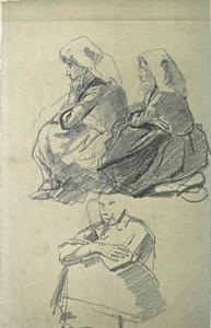 Johan Barthold Jongkind - Two Breton sitting on the ground and another woman