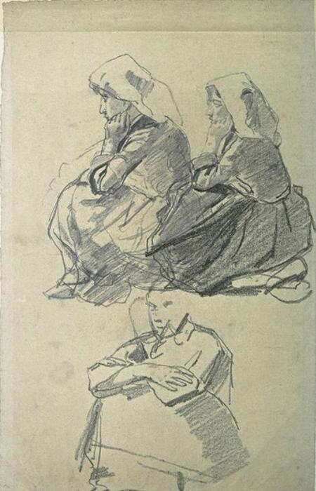 famous painting Two Breton sitting on the ground and another woman of Johan Barthold Jongkind