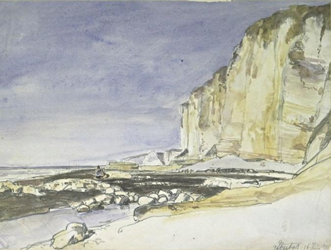 famous painting View of cliffs and the beach at Etretat of Johan Barthold Jongkind
