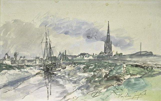 famous painting View of the port of Harfleur at low tide, with the spire of the cathedral of Johan Barthold Jongkind