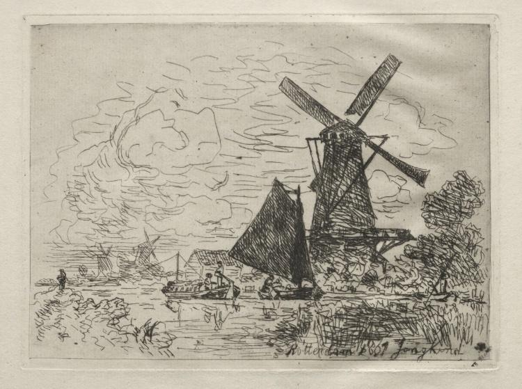 famous painting Windmills in Holland of Johan Barthold Jongkind