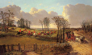 John Frederick Herring Junior - A Hunting Scene with a Coach and Four on the Open Road