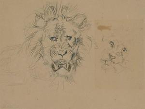 John Frederick Lewis - Two studies of the head of a lion