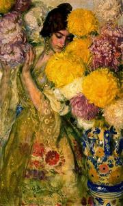 José Mongrell Torrent - Valencian Girl With Chrysanthemums