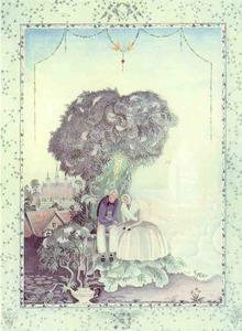 Kay Rasmus Nielsen - Elder Mother Tree. An old, plesant-looking woman in a strange dress