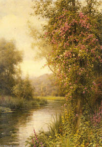 Louis Aston Knight - A Flowering Vine along a Winding Stream with a Country Church Beyond