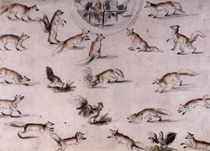 Lucas Cranach The Younger - Study for a wall decoration with foxes and chickens