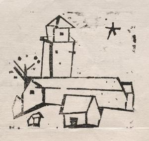 Lyonel Feininger - Church with Houses, Tree and Star, Deep