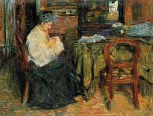 Mario Sironi - Interior with a mother who sews
