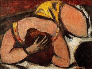 Max Beckmann - Small Female Nude (Pink and Brown)