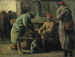 Maximilien Luce - The three soldiers at the station