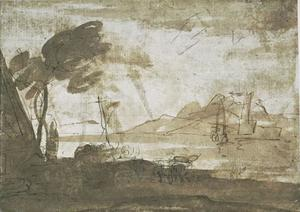 Salvator Rosa - Unloading of horses on a strike, with a port in the distance