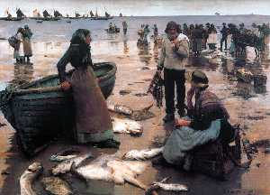 Stanhope Alexander Forbes - A Fish Sale on a Cornish Beach