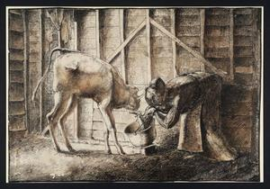 Stanley Spencer - Woman Feeding a Calf