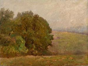 Theodore Clement Steele - A Misty Day (Where the Hills are Lost in Mist)