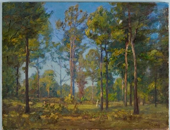 famous painting A Stroll Through the Woods (Blue Sky) of Theodore Clement Steele