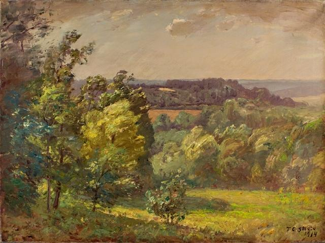 famous painting Across the Valley (Salt Creek, A Windy Day) of Theodore Clement Steele