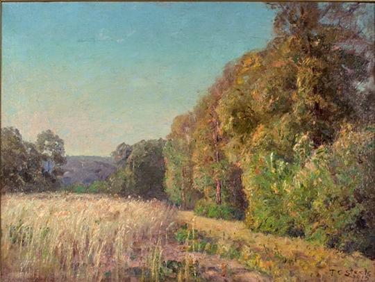 famous painting At the Edge of the Field (Orchard in Summer) of Theodore Clement Steele