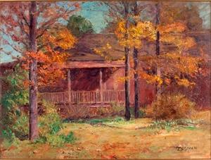 Theodore Clement Steele - Autumn Time in the Garden-View of Porch