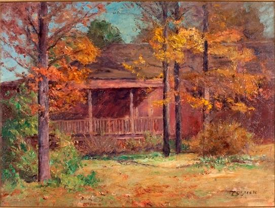 famous painting Autumn Time in the Garden-View of Porch of Theodore Clement Steele