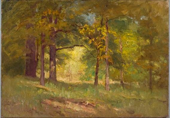 famous painting Autumn Words (Forest Interior) of Theodore Clement Steele