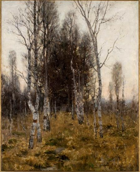 famous painting Birches of Theodore Clement Steele