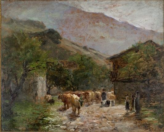 famous painting Bringing Home the Cows of Theodore Clement Steele