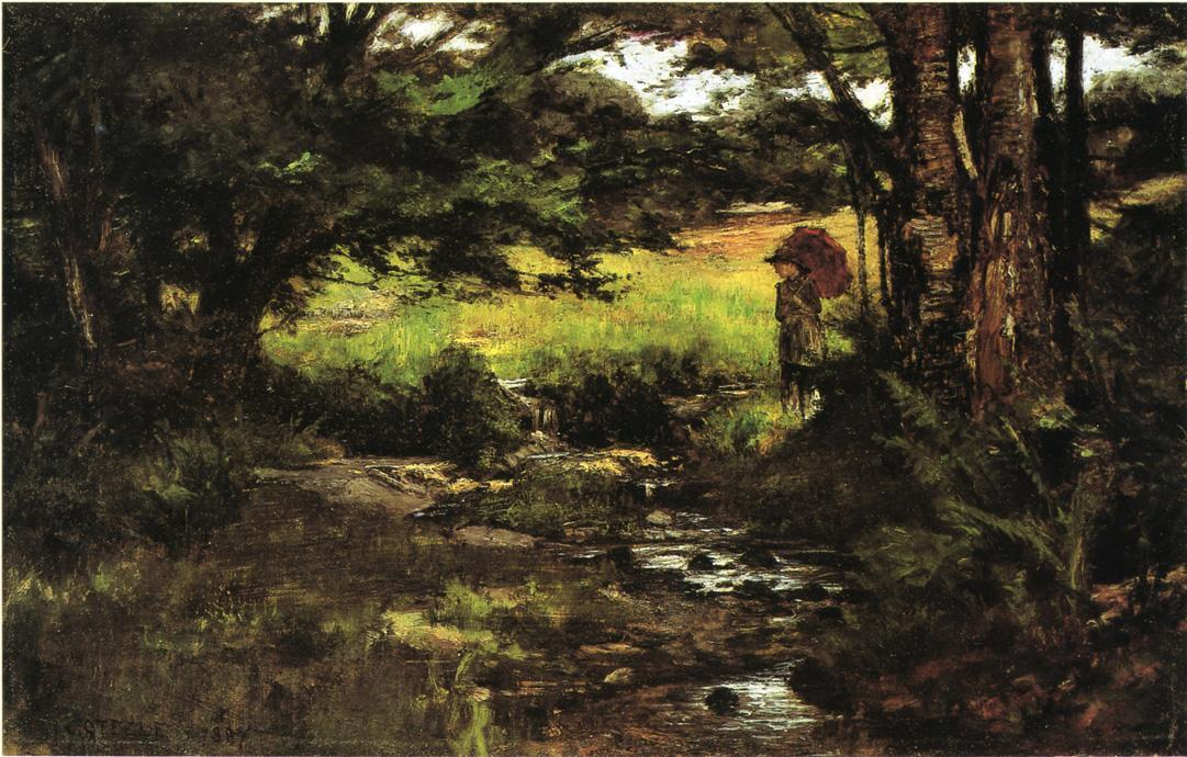 famous painting Brook in Woods of Theodore Clement Steele