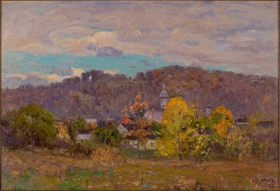 famous painting Brookville Hilltops-Fall Landscape-Villa of Theodore Clement Steele