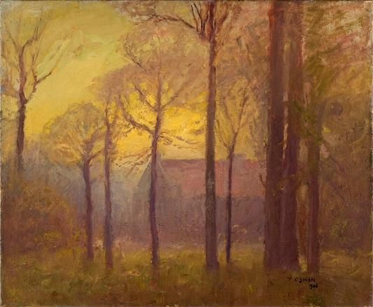 famous painting Building Among Tall Trees (Sunset on the Campus) of Theodore Clement Steele