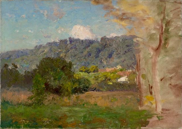 famous painting Buildings and Trees of Theodore Clement Steele
