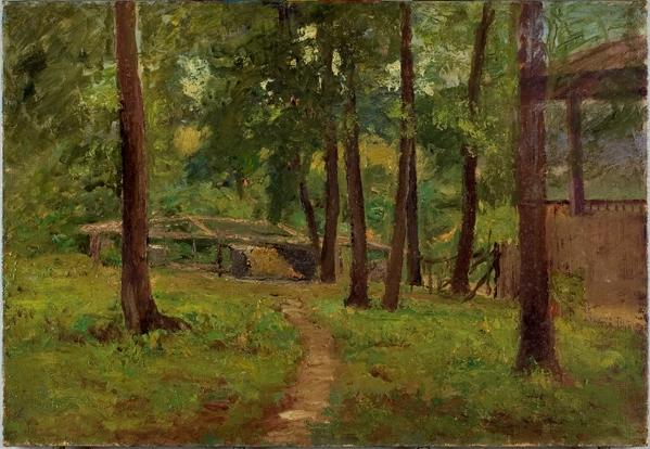 famous painting Cabin Among the Trees of Theodore Clement Steele