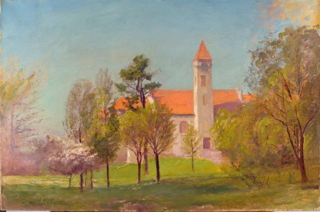 famous painting Campus Tower of Theodore Clement Steele