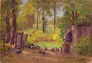 Theodore Clement Steele - Chicken Yard (The Chicken Lot)