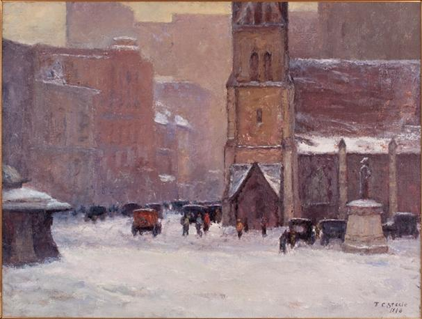 famous painting Christ Church Cathedral in the Snow of Theodore Clement Steele