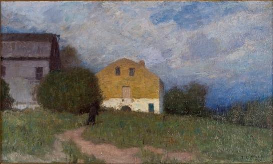 famous painting Cloudy Day, Brookville of Theodore Clement Steele