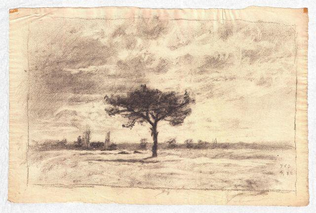 famous painting Drawing of a meadow of Theodore Clement Steele