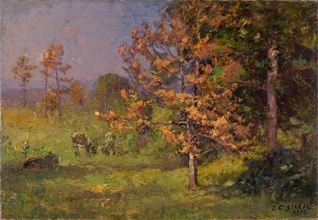 famous painting Early Autumn (The Autumn White Oak) of Theodore Clement Steele