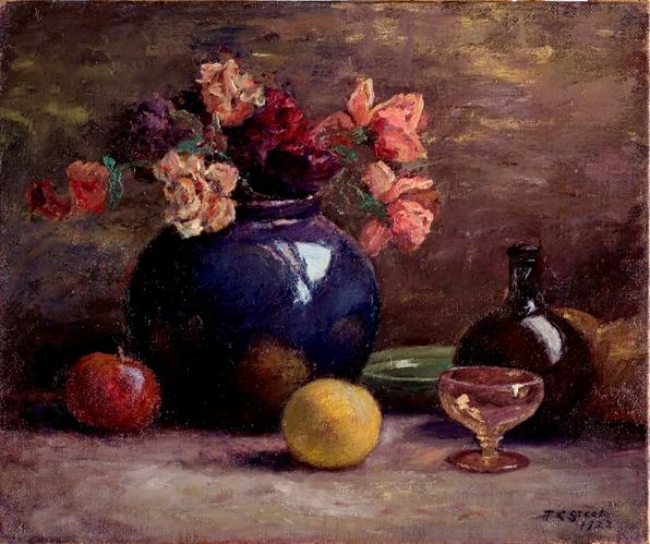 famous painting Flowers in Vase, Wine Glass and Fruit of Theodore Clement Steele
