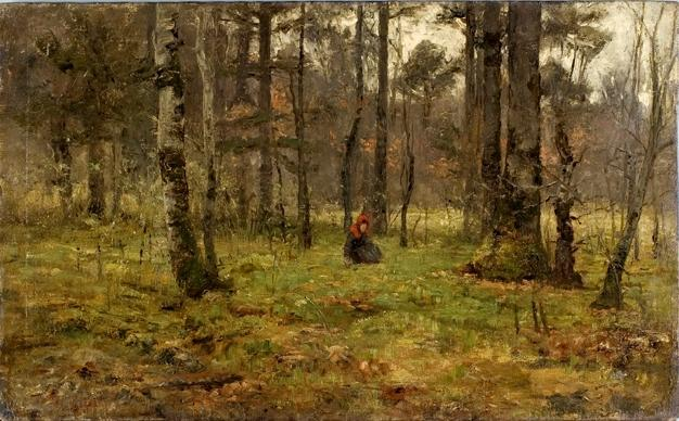 famous painting Girl in the Woods of Theodore Clement Steele